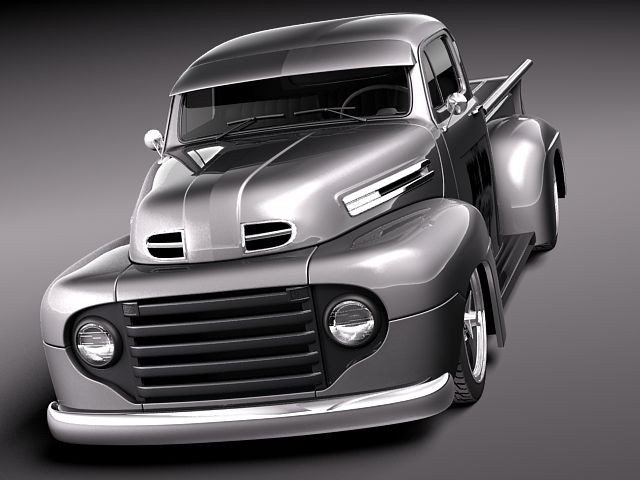 ford f1 pickup hotrod 1950 pickup car vehicles 3d models. Black Bedroom Furniture Sets. Home Design Ideas