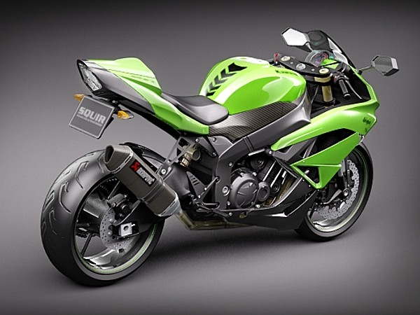Kawasaki Ninja ZX-6R Sport Motorcycle Vehicles 3D Models