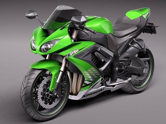 Kawasaki ZX-10R Ninja 2011 Sport Motorcycle Vehicles 3D Models