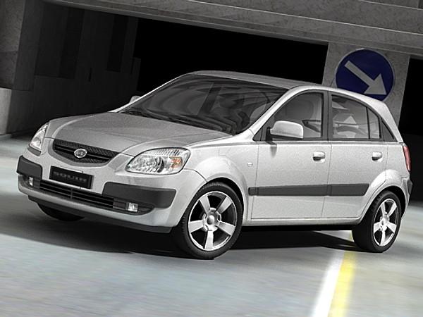 kia rio 2006 hatchback sedan car vehicles 3d models. Black Bedroom Furniture Sets. Home Design Ideas