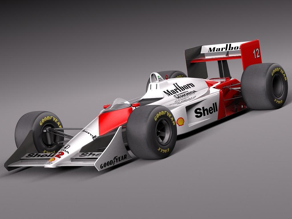 mclaren honda mp4-4 ayrton senna f1 racing car vehicles 3d models