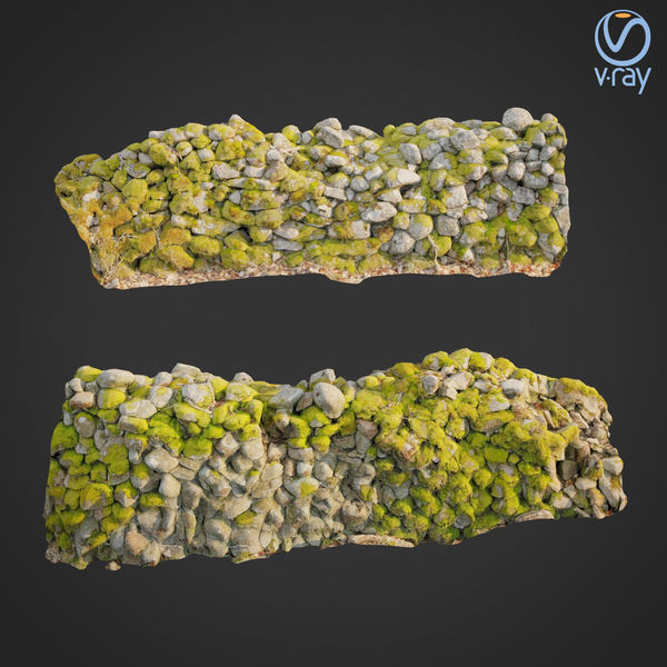 3d scanned nature stone wall C