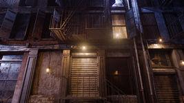Manhattan New York Back Alley exterior scene