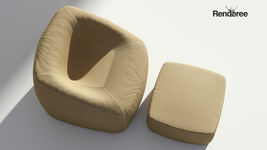 Fabric Armchair with Ottoman
