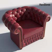 Chesterfield Armchair - Brown Green Red
