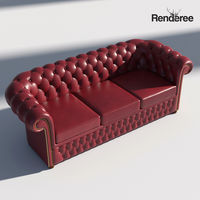 Chesterfiled Sofa 3 Red