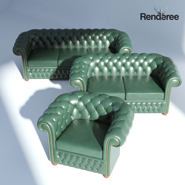 Chesterfiled Sofa Set Green