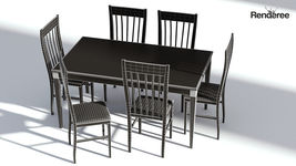 Dark Wooden Dining Set - 6 Chairs and Table