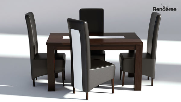 Dining Set - Wooden Table and Leather Chairs