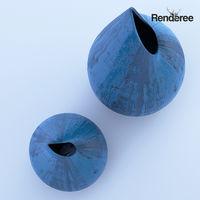 Blue Wooden Vase
