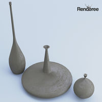 Cement Vases Decor Set